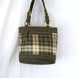Tommy Hilfiger Green Plaid Suade Purse Bag Shoulder